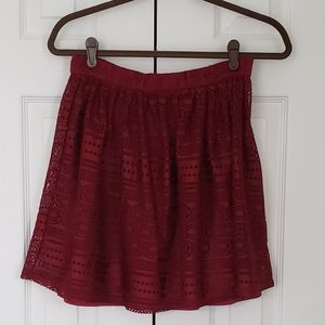 Francesca's Dark Red Lace Skirt
